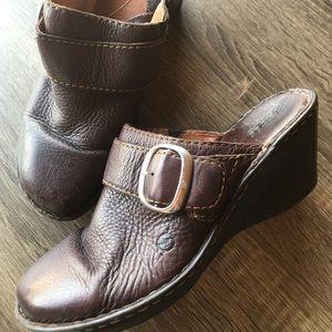 BORN Leather Mules Slides Clogs Wedge Platform